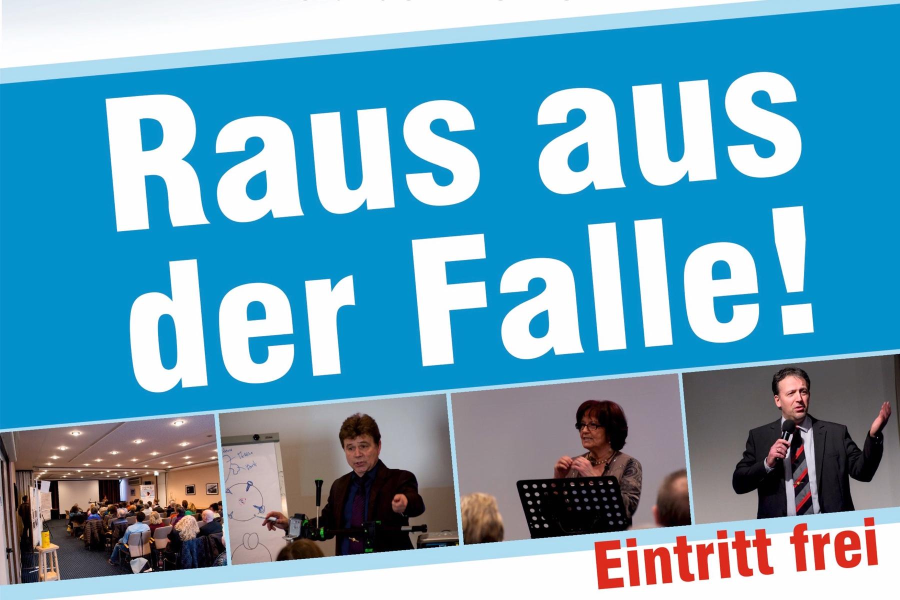 Plakat Raus aus der Falle mit Bildern von Bernd C. Trümper und Siegfried Ebenhoch
